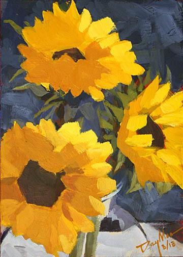 032 sunflowers, acrylic on mdf