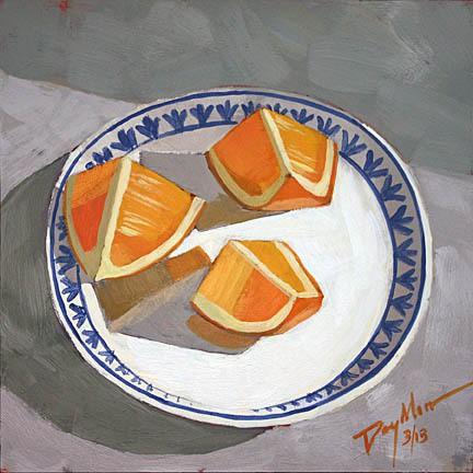 """orange wedges, acrylic on mfd, 6"""" x 6"""""""