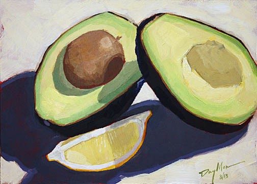 "avocado, acrylic on MDF, 5"" x 7"""