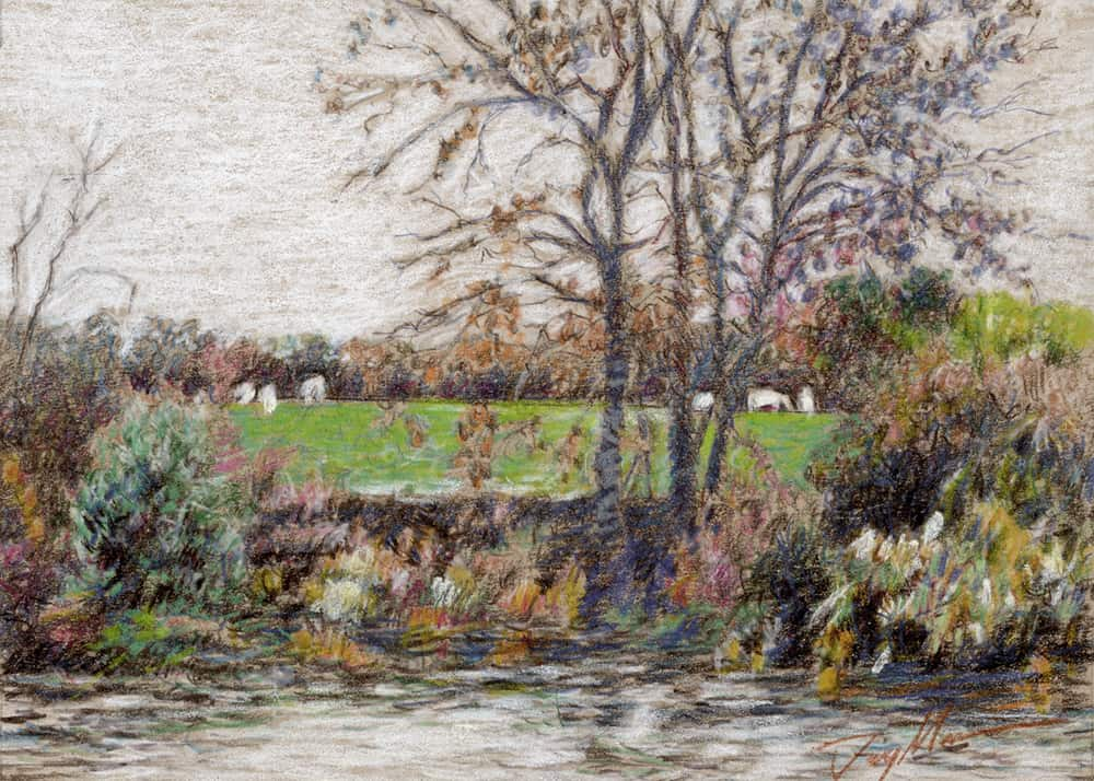 "photo of painting ""pasture by the river"""